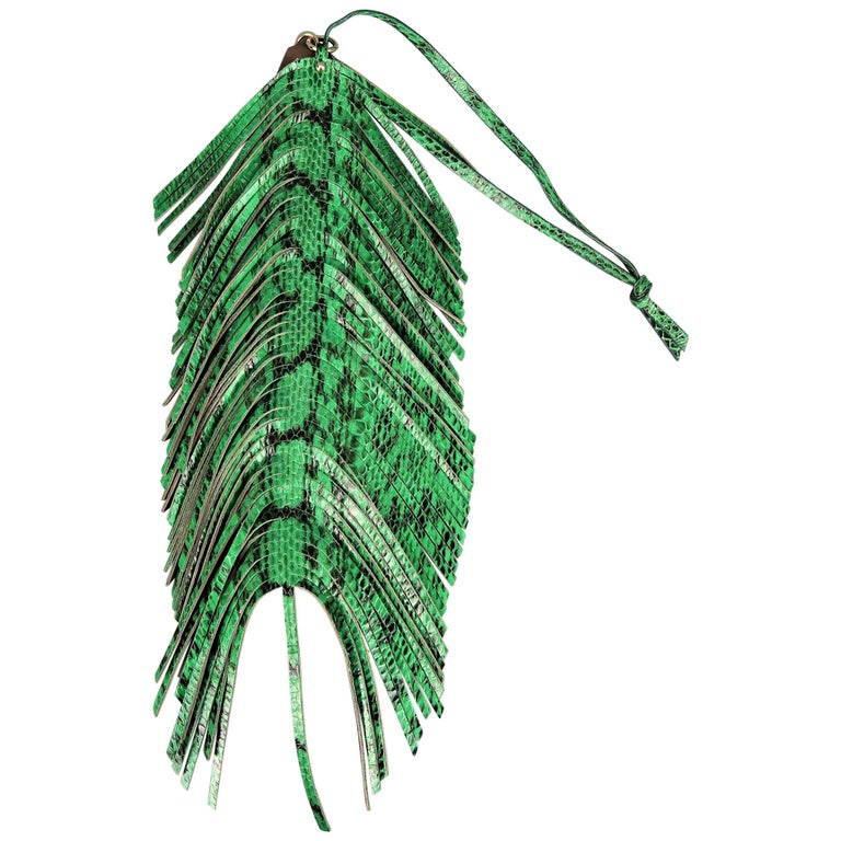 Jimmy Choo Green Snake Skin Leather Fringe Feather Key Chain