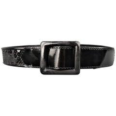 Vintage YVES SAINT LAURENT Rive Gauche Black Sequin Leather Belt