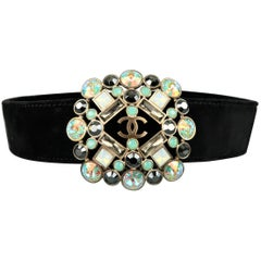 CHANEL Belt -  Black Velvet AB Crystal Gripoix CC Brooch Belt Fall 2006