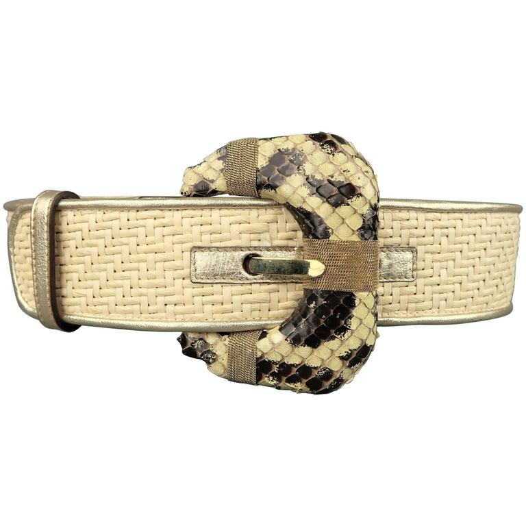 OSCAR DE LA RENTA Beige M Woven Raffia Snake Buckle Leather Belt
