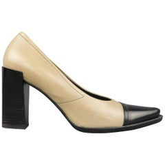 PRADA Size 10 Beige & Black Leather Cap Toe Pointed Toe Pumps