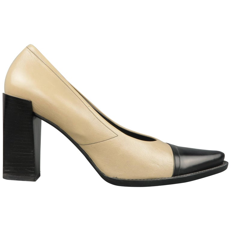 PRADA Size 10 Beige and Black Leather Cap Toe Pointed Toe Pumps For ...