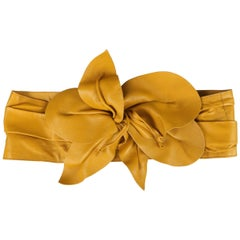 MARC JACOBS Mustard Yellow Leather Oversized Flower Hip Belt