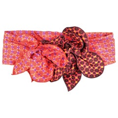 MARC JACOBS Red M Floral Print Cotton Flower Sash Belt