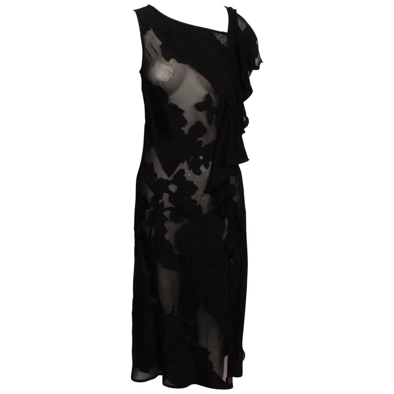 Dries Van Noten Floral Burn Out Bias Cut Dress