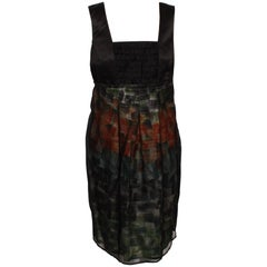 Alexander McQueen Paint Stroke Empire Line Dress With Ruffled Bodice