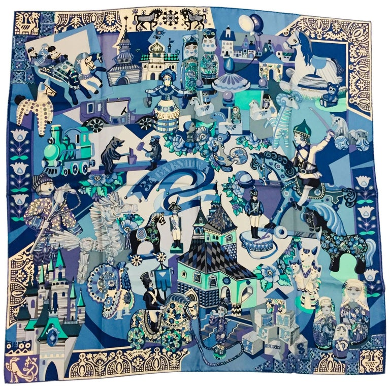 HIghly Collectible Hermès Zabavushka Blue Silk Scarf by Evgenia Miroschnichenko
