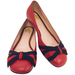 Gucci Red Leather Ballet Flats With Grosgrain Web Bows and Gold Tone Star Studs