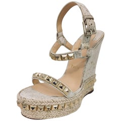 Christian Louboutin Cataclou Studded Suede Espadrille Platfoform Sandals