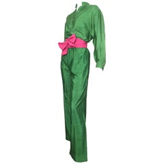 Saint Laurent Rive Gauche Green Silk Blouse, Pants & Sashes Size 4.