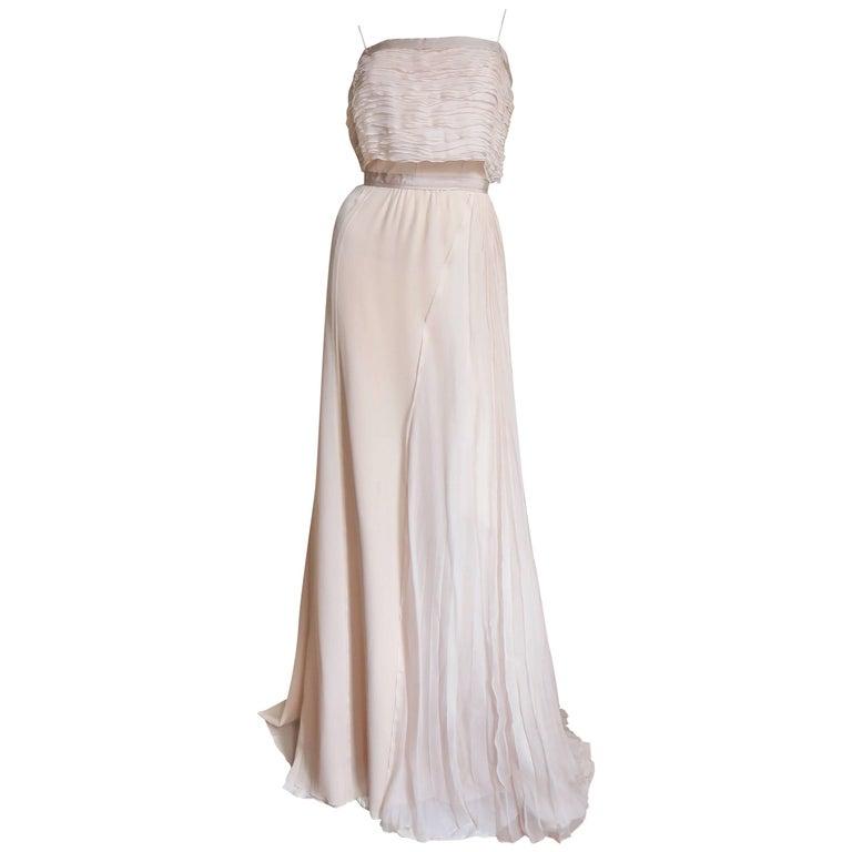 Nina Ricci Blush Silk Gown With Intricate Bodice Detail