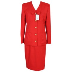 Valentino Classic Red Wool Italian Skirt Suit, 1990s