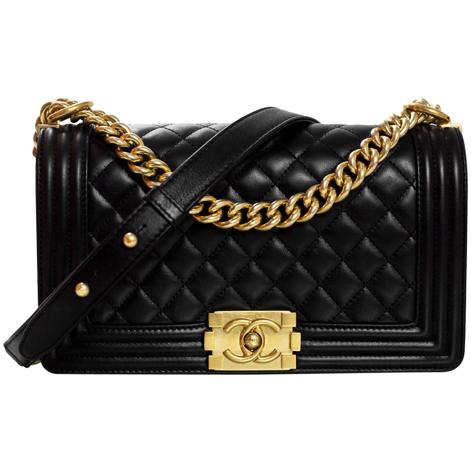 Chanel Black Quilted Lambskin Old Medium Boy Bag with Box For Sale at  1stdibs 6e4d41507d