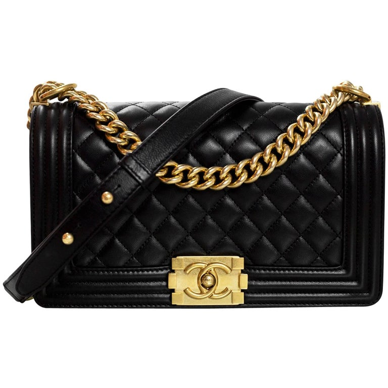 Chanel Black Quilted Lambskin Old Medium Boy Bag with Box For Sale