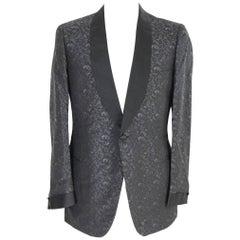 Brioni man's vintage black silk damask smoking jacket, made in italy