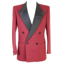 Brioni vintage Tosca double-breasted red wool jacket, made in italy