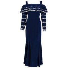 1975 Karl Lagerfeld for Chloe Sequin Navy Blue Silk Off-Shoulder Ruffle Dress