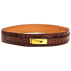 Hermes Brown Vintage Crocodile Kelly Belt with Box