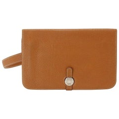 Hermes Cognac Leather Men's Women's Travel Carryall Fanny Pack Waist Belt Bag