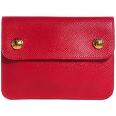 Hermes Red Leather Travel Clutch Carryall Bum Fanny Pack Waist Belt Bag in Box