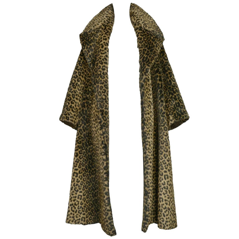 Iconic Alaia Leopard Faux Fur Coat 1991  For Sale