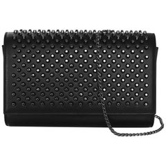 Christian Louboutin Black Leather Paloma Studded Spike Clutch/Crossbody Bag