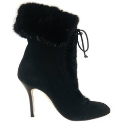 Manolo Blahnik Suede Boots with Mink