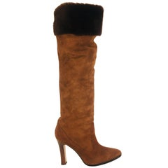 Manolo Blahnik Tall Boots with Fur