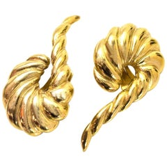 Valentino Vintage Goldtone Twisted Clip-On Earrings