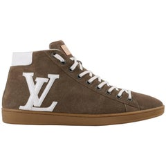 "LOUIS VUITTON S/S 2012 Khaki Suede Leather LV High Top ""Surfside Sneaker Boot"""