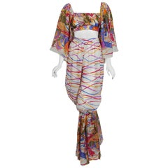 1991 Yves Saint Laurent Leon Bakst Novelty Print Silk Bell Sleeve Ensemble Set