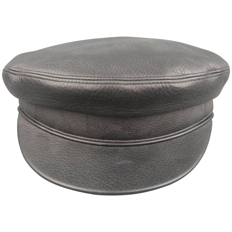Hermes Size 7 1/8 Black Deer Skin Leather Brimmed Biker Cap Hat