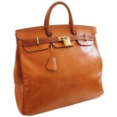 Hermes Haut a Courroies Bag HAC 45cm Travel Tote Rare Veau Grain Long Leather