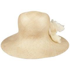 GABRIELA LIGENZA Blonde Beige Cream Silk Organza Flower Straw Sun Hat