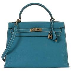 Hermès 32cm Blue Jean Kelly Bag