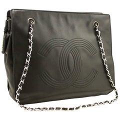 CHANEL Chain Shoulder Bag Black CC Lambskin Leather Silver Zipper