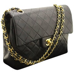 CHANEL Double Flap Chain Shoulder Bag Black Quilted Lambskin