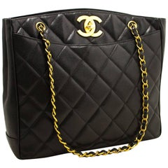CHANEL Caviar Gold Chain Shoulder Bag Black Quilted Leather CC