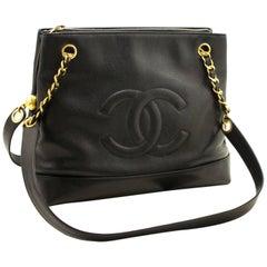 CHANEL Caviar Large Chain Shoulder Bag Black Zip Leather CC Gold