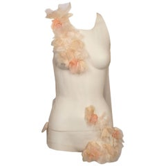 Akira Sheer Silk Tulle Top With Distressed Flowers