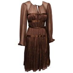 BCBG Maxazria Chocolate Brown Silk  Dress