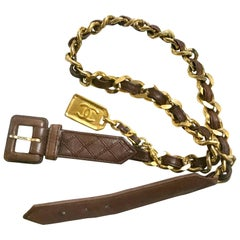 Vintage CHANEL brown classic leathering chain belt with golden square logo charm