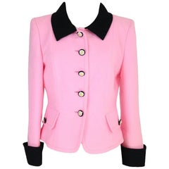 NWT Mario Borsato Couture vintage wool boucle jacket women's size 44 pink 1980s
