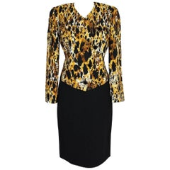 NWT Mila Schon vintage silk skirt suit animalier jacket size 42 it black 1980s