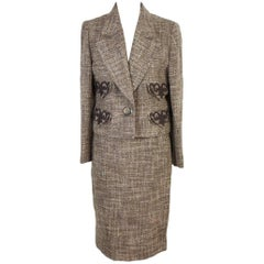 Valentino Boucle Beige Brown Wool Italian Skirt Suit, 1990s