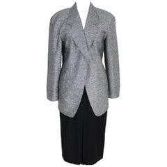 NWT Escada vintage skirt suit laminated jacket women's 1980s wool size 36 black