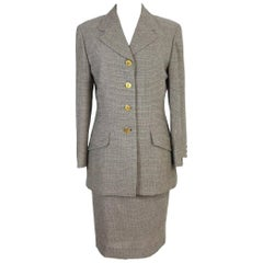 Brioni Romina vintage women's brown wool skirt suit made in italy, 1980s
