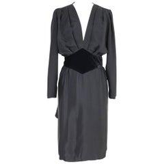NWT Mario Borsato vintage evening silk black plisse dress women's V-neck 1980s