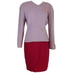 NWT Mila Schon vintage 1980s skirt tulip suit tailleur women's fucsia and purple
