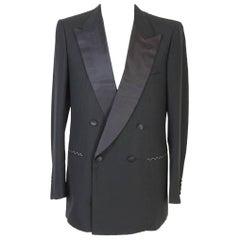 NWT Brioni vintage smoking black wool jacket men's satin reverse size 50 it